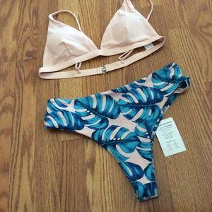 Blush & Aqua 2 Pc Bikini Swimsuit Size L